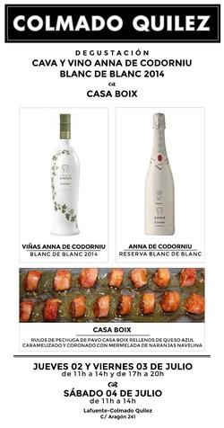 Degustación cava y vino Anna de codorniu blanc de blanc 2014 & Casa Boix